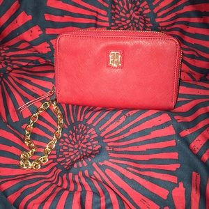 Red Tommy Hilfiger Wristlet wallet